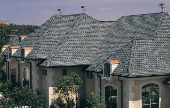 Roofing Photo Gallery Certainteed Idea Center Stonegate Gray Shingles Don T Like The Circles Shingle House Modern Roofing Residential Roofing