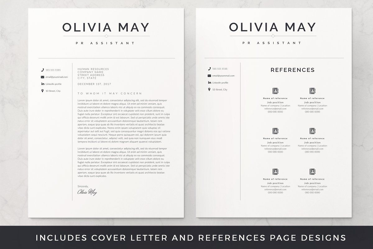 Resume Template / CV One page resume template, Resume