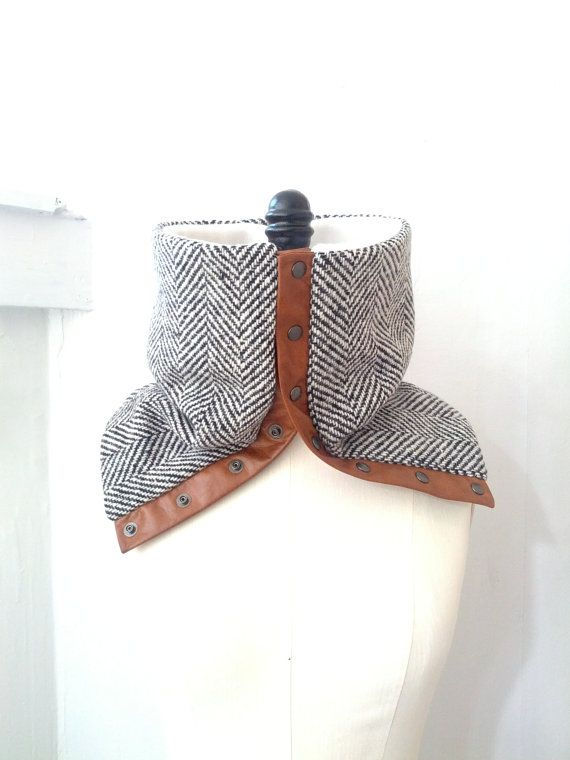 Cowl scarf black and white herringbone wool by System63 on Etsy $55