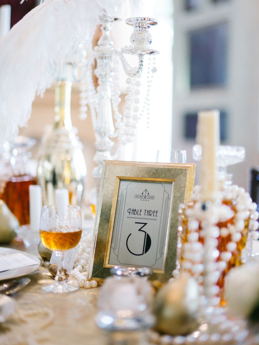Art deco table numbers. Glamorous Great Gatsby Wedding Inspiration ...