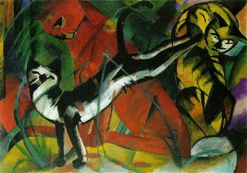 Three Cats by Franz Marc, 1913, oil on canvas, Kunstsammlung Nordrhein-Westfalen, Düsseldorf, Germany