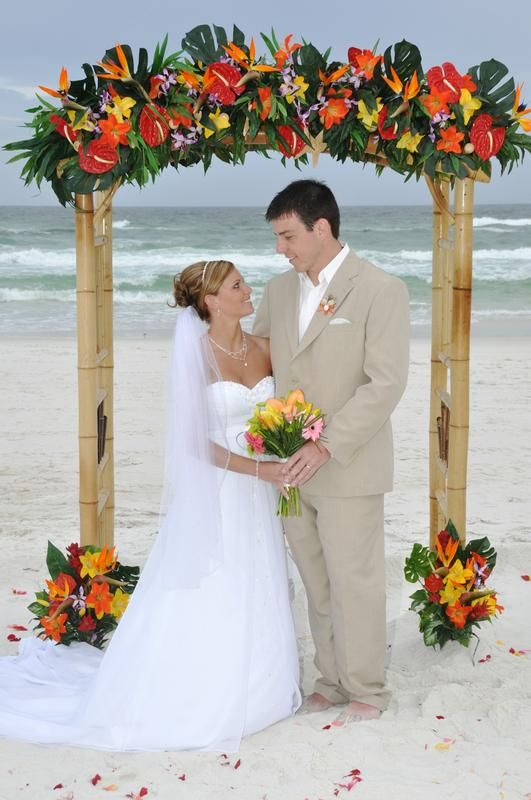 Tropical Birds Of Paradise Complete This Beach Wedding Arbor By Sunshine Company