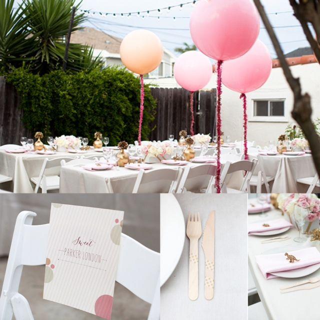 Pink Glitter Backyard Baby Shower