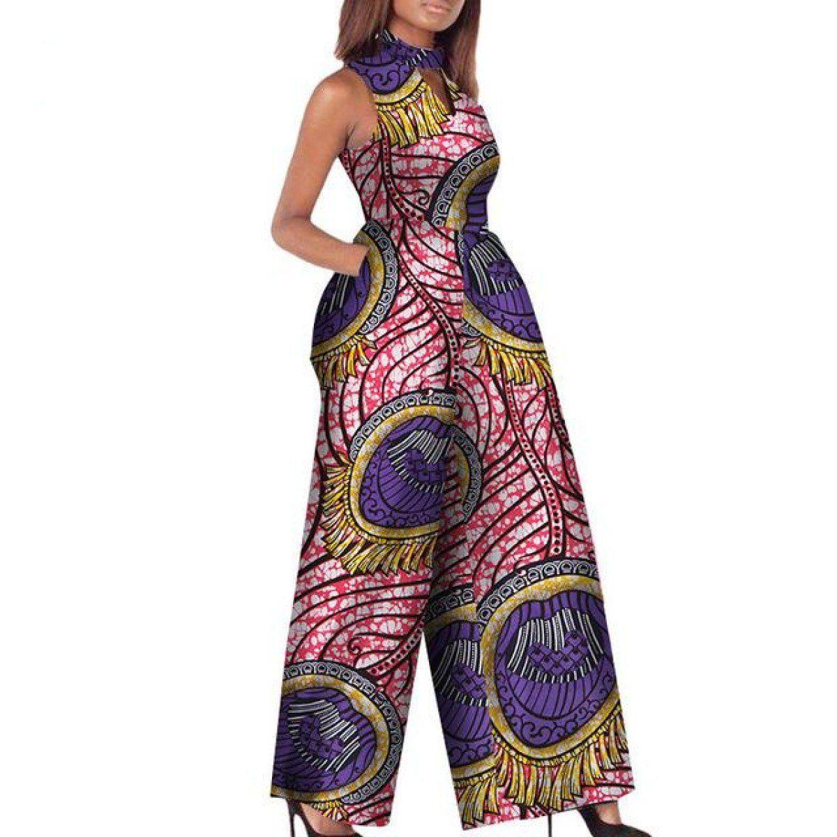 20e12c89d African Print Women Jumpsuit O-Neck Sleeveless Autumn Sexy Romper Wide Leg  Pants