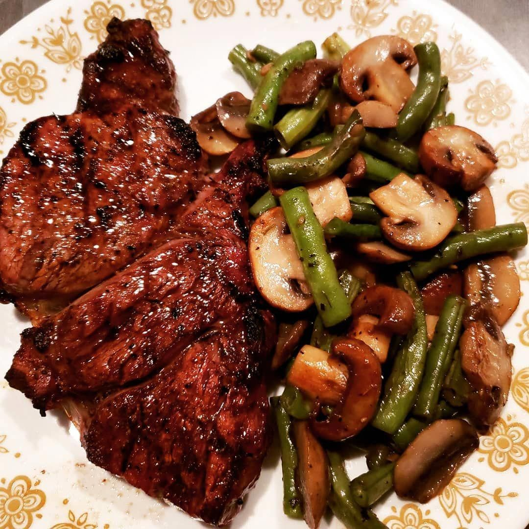 Grilled chuck steak mushrooms and purple green beans for