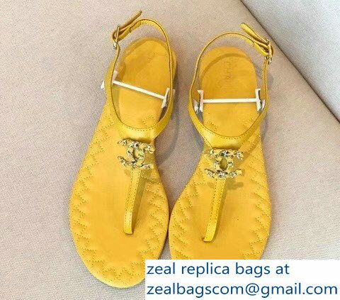 ecae5715a7b Chanel CC Logo Chain Sandals G33382 Yellow 2018