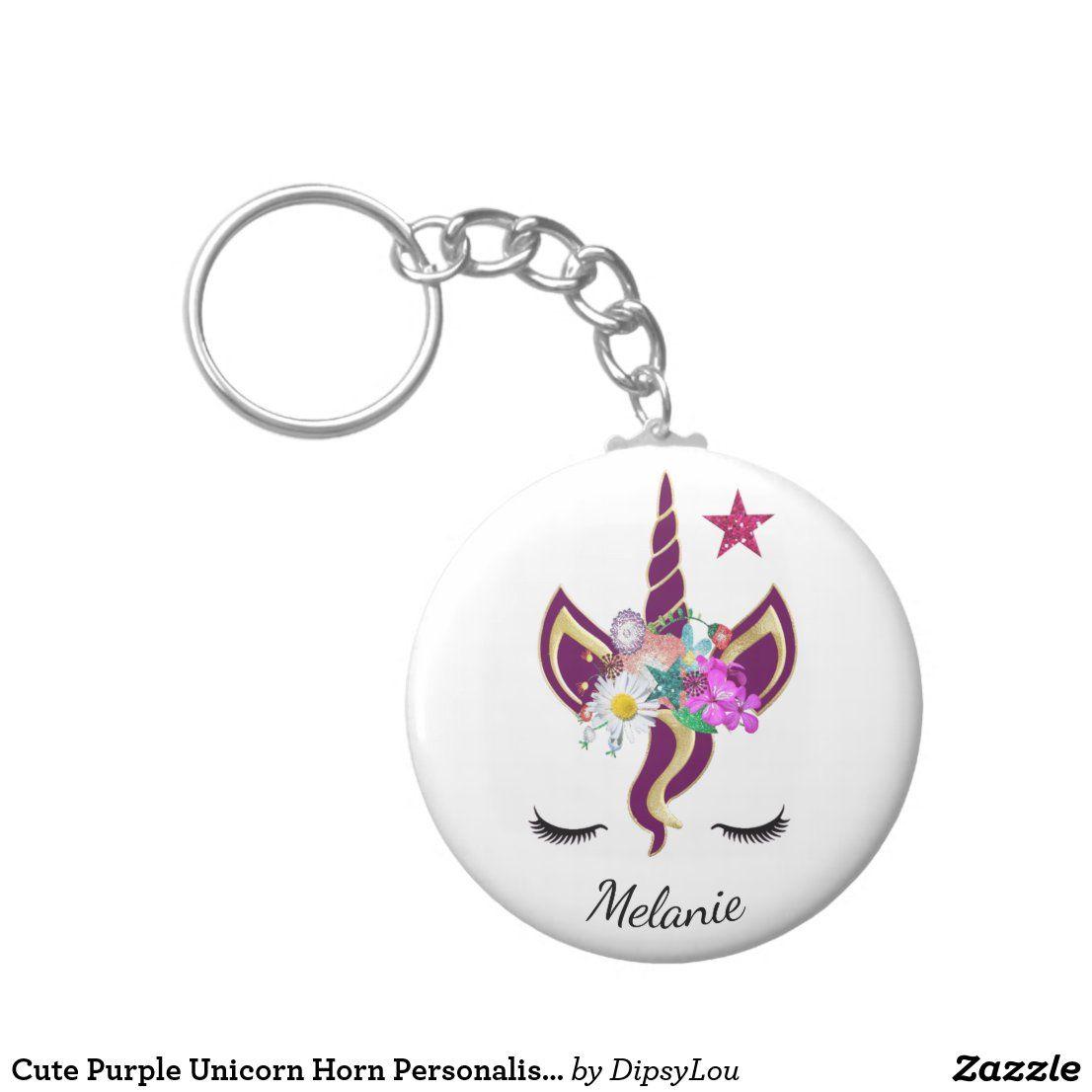 Cute Purple Unicorn Horn Personalised Keychain   Zazzle.com