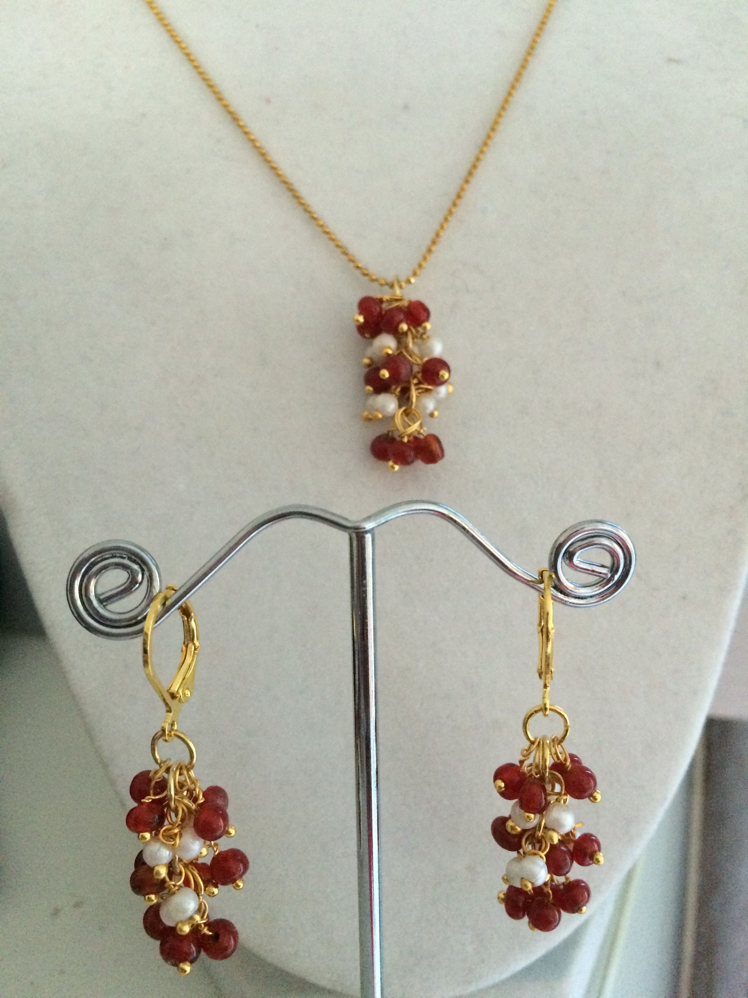 Faux pearl and glass beads earrings and pendant set handmade
