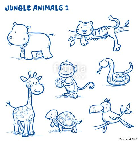 Line Art Jungle Animals : Vektor cute cartoon jungle safari animals hippo tiger
