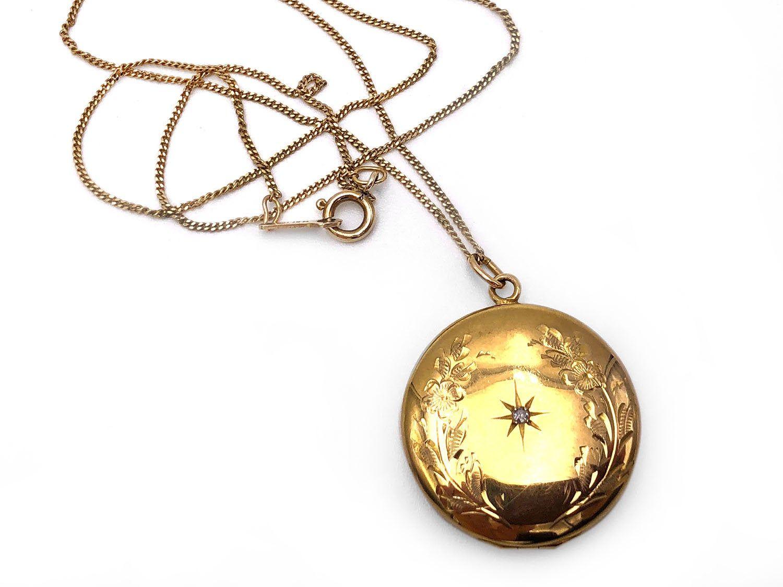 Vintage 10k Yellow Gold Locket Diamond Accent Marguerite On 14k Gold Chain 1940 Gold Locket 14k Gold Chain Locket