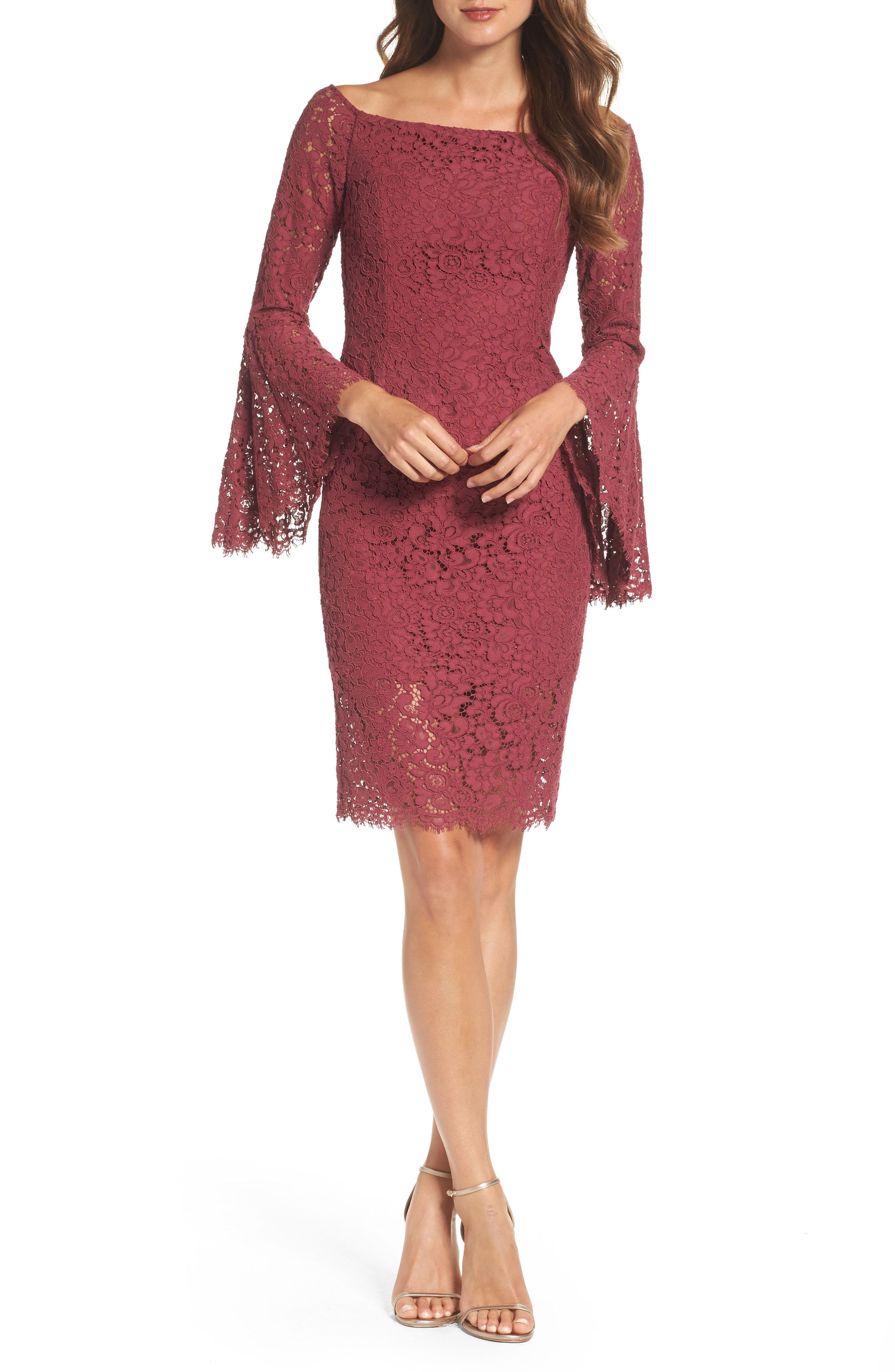 d1fde448b0b4 Dress to wear to an September or October wedding. Short lace dress with  long bell sleeves.  affiliatelink  weddingguest  fallfashion  dressesforfall