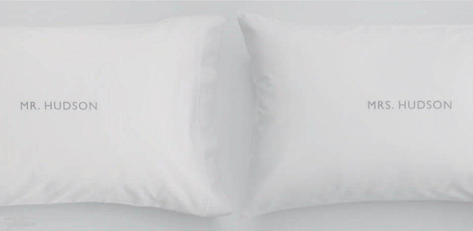 Personalized Mr. and Mrs. Pillowcases from RedEnvelope.com $49.95 #redenvelope #weddings