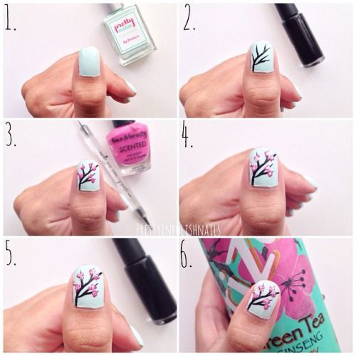 """1⃣ Paint your nails light green. (I used @prettypleasegal """"Mint Green"""")  2⃣ Create the branches using a black nail art striper. 3⃣ Use pink polish + a dotting tool to create small dots! 4⃣ Apply light pink polish for dimension. 5⃣ Add the final details to each cherry blossom!  6⃣ Finish this design with your favorite topcoat!         prettyinpolish:  Cherry Blossom Nails"""