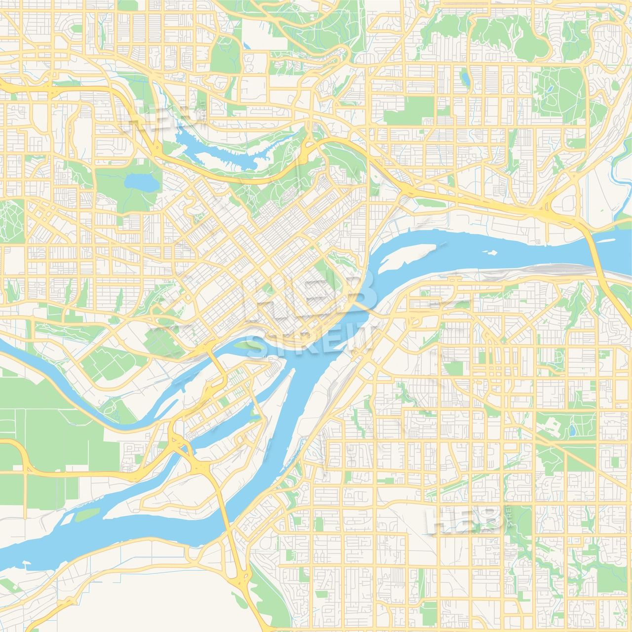 Empty vector map of New Westminster, British Columbia, Canada | Maps