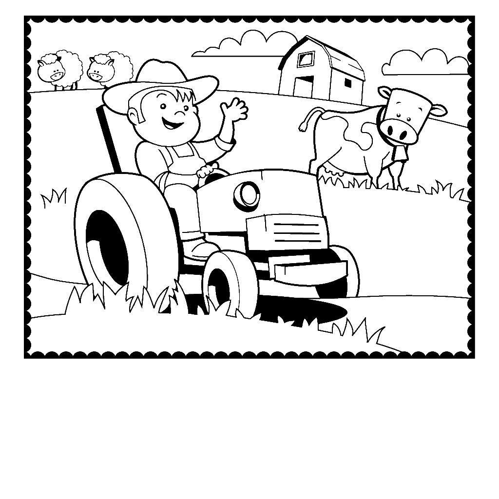Farm Tractor Coloring Pages
