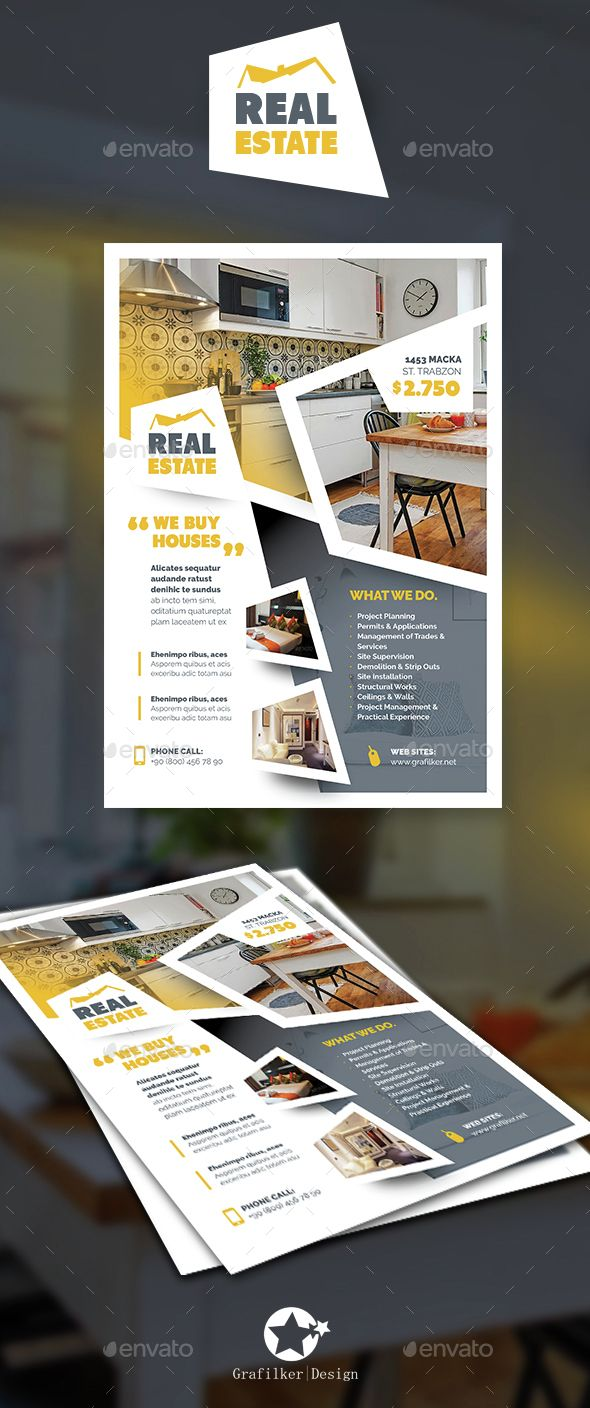 Real Estate Flyer Templates | Folletos, Plantilla de folleto y Empaques