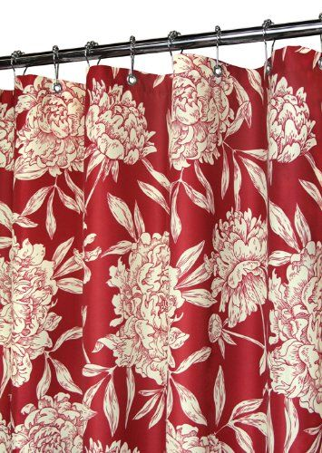 Park B Smith Peony Shower Curtain Morrocan Red Cream