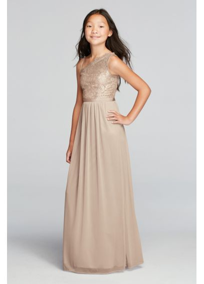 71d3f2ea1 in rose gold too. $119. One Shoulder Long Metallic Lace Bodice Dress ...