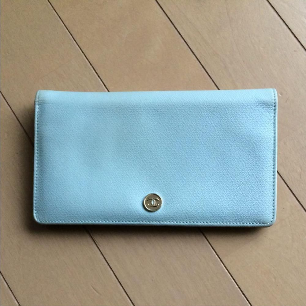 Authenticwell usedchanel blue long wallet free shipping