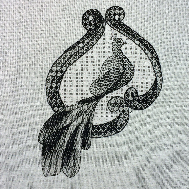 KL185 Art Deco Peacock Blackwork Kit designed by Goldleaf Needlework
