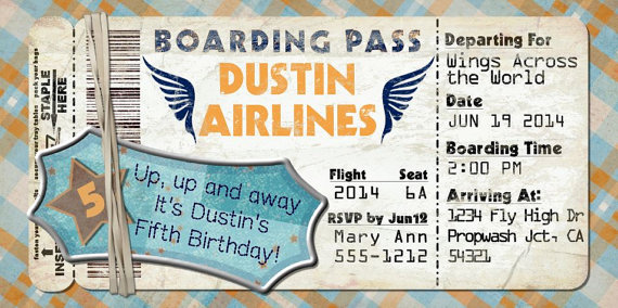 Planes Boarding Pass Invitation for Birthday Party, Bon Voyage
