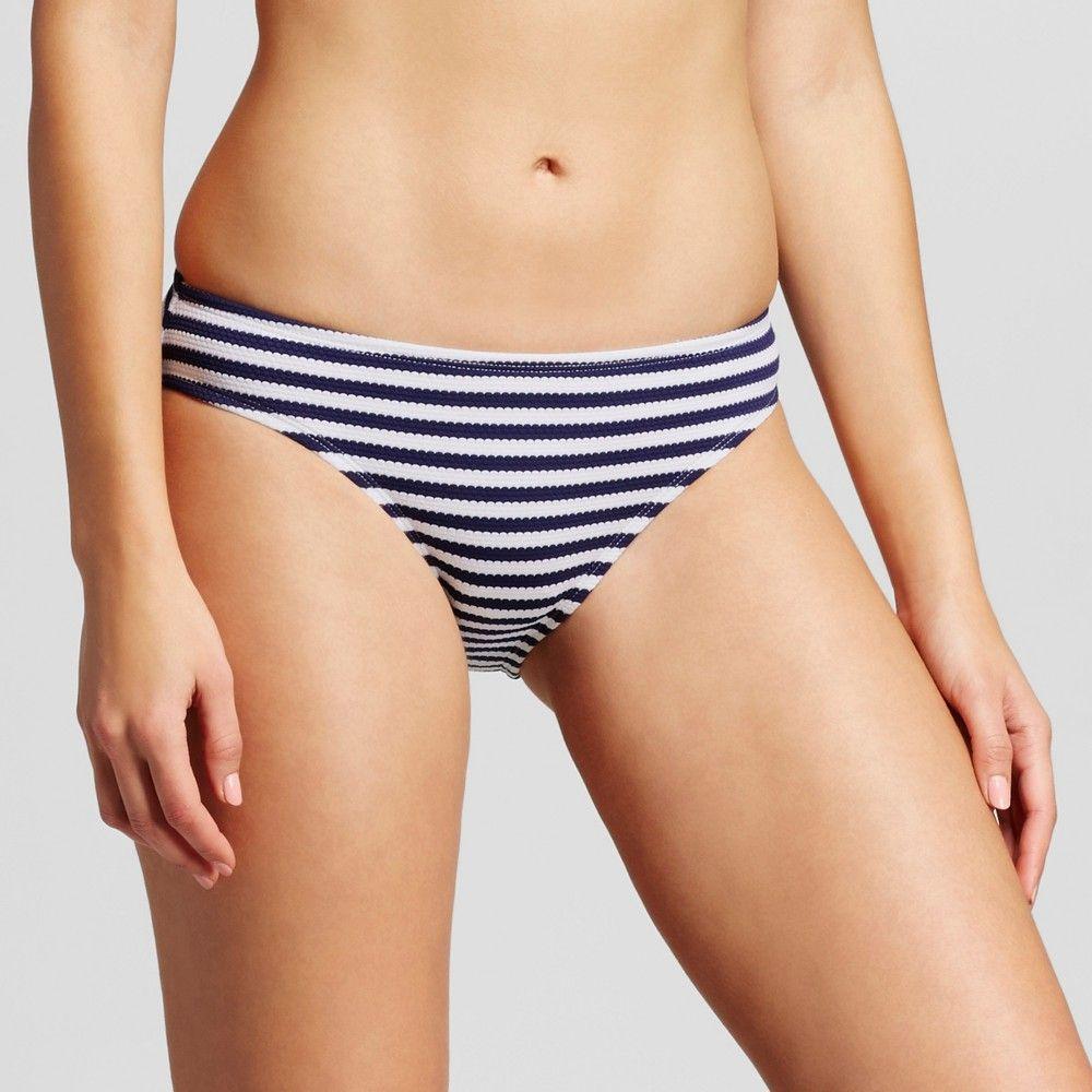 88ea975a3b263 Women s Maritime Striped Side Tab Hipster Bikini Swim Bottom - Navy White -  XS - Clean Water