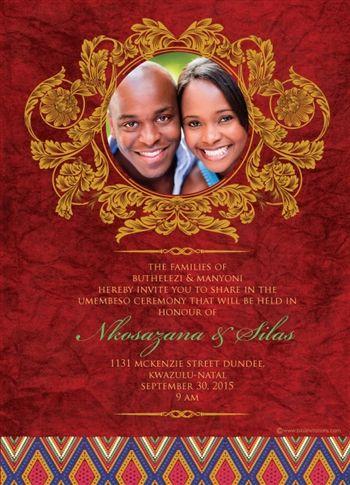 Thandeka south african umabo traditional wedding invitation south african traditional wedding invitation card umembeso card zulu wedding stopboris Images