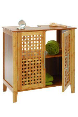Bambus-Waschbecken-Unterschrank, zweitürig: Amazon.de: Küche ...