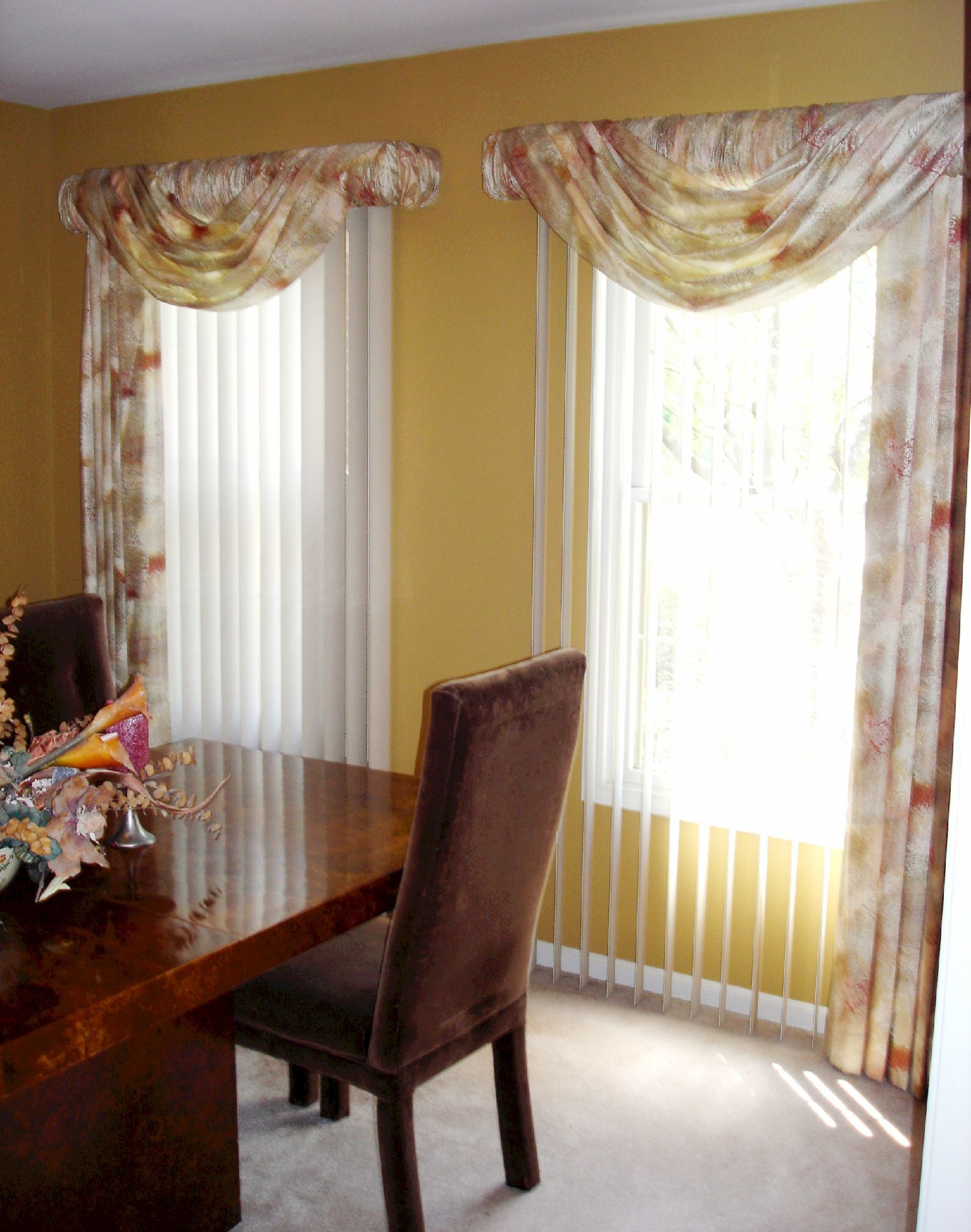 Swags over vertical blinds soften up those vertical blinds susans designs