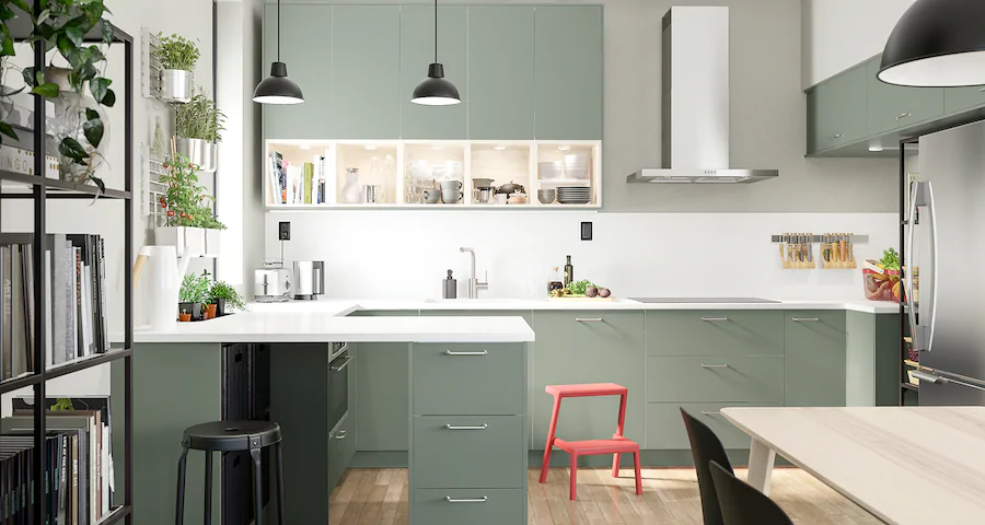 Seria Bodarp Kuchnia Szaro Zielona Kitchen Design Ikea Kitchen Green Kitchen