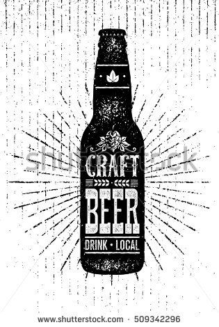 Local Craft Beer Creative Handmade Typography Poster Concept Vector Design Element On Rough Background