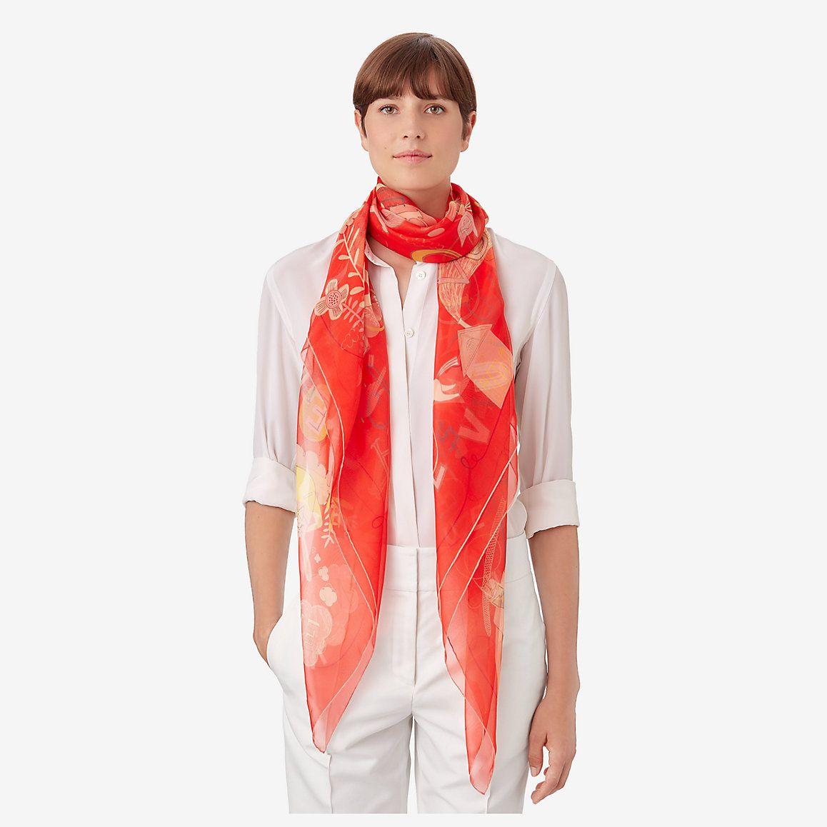c79cdb16d9 Les Confessions shawl 140 - worn Chiffon Scarf