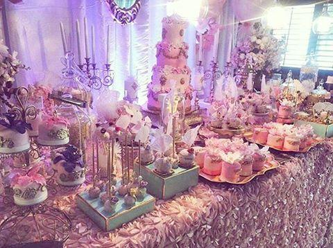 Victoria Marie's 1st Birthday #trendeeflowers #oneyear #firstbirthday #marieantoinette #birthdaydecor #partyrentals #florals #decor #lighting #draping #celebration #birthday #eventdesign #partysdecor #decorideas #candelabras #gold #pink #blush #rose #linens #cake #desserts #dessertstation #rosettelinen #florallinen #stunningcake #heavensentdesserts #conceptseventdesign #ronisugarcreations