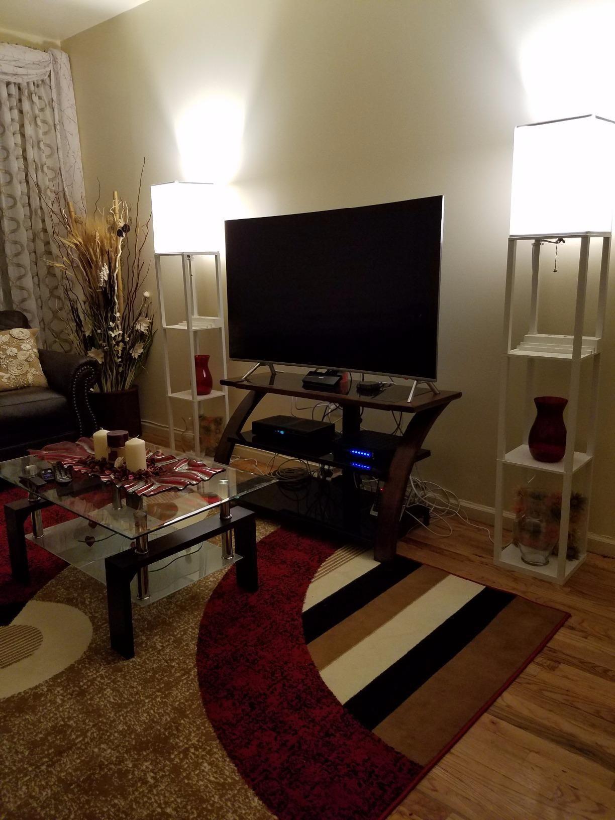 Brightech Maxwell Led Usb Shelf Floor Lamp Modern Asian Style