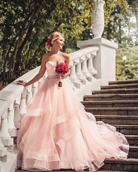 Boho Blush Pink Wedding Dresses 2017 Pretty 3d Flower Lace: Gorgeous A-line Strapless Pink Long Wedding Dress