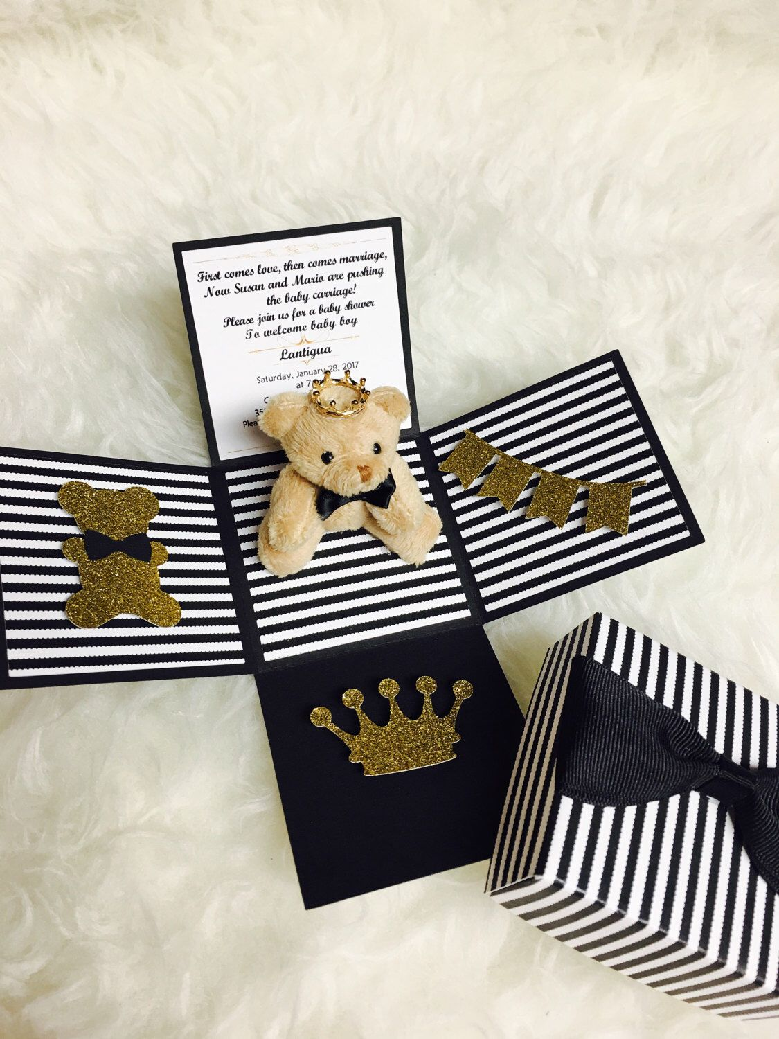Black bow tie teddy bear baby shower invitation teddy bear theme baby shower invitations invite bow tie theme a personal favorite from my etsy shop httpsetsy filmwisefo