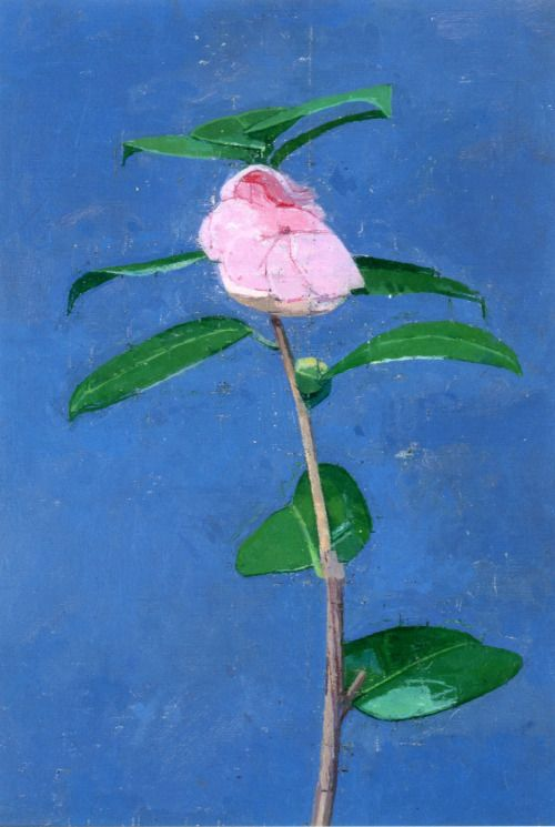 Souvenir de Bauhaud Litou (Double Camelia) - (1999) by Euan Uglow (1932-2000), British - He was predominantly a painter of the human figure, although he also painted still lifes and landscapes. His method involved a great deal of measuring and correction to create images that appear almost sculptural.The measuring process was laborious and time consuming. He did not attempt to hide the process of construction and measurements (wiki) - oil on canvas laid on panel (dappled with shadow)