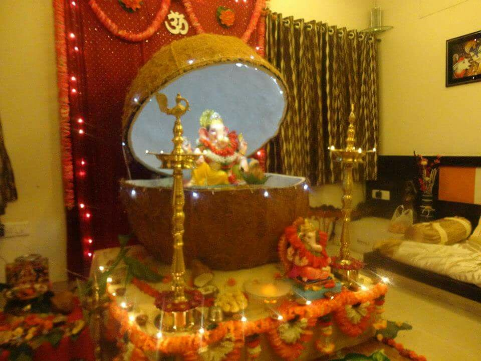 Festival Decorations House Wedding Ganesh Utsav Creative Art Ganpati Puja Room Bappa Indian Theme