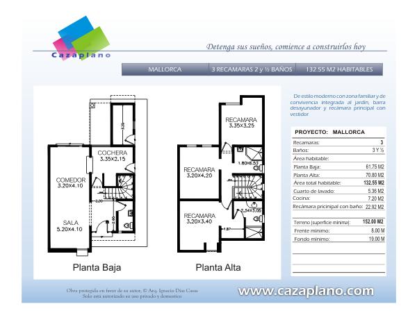 plano arquitectonico casa modelo mallorca planos para