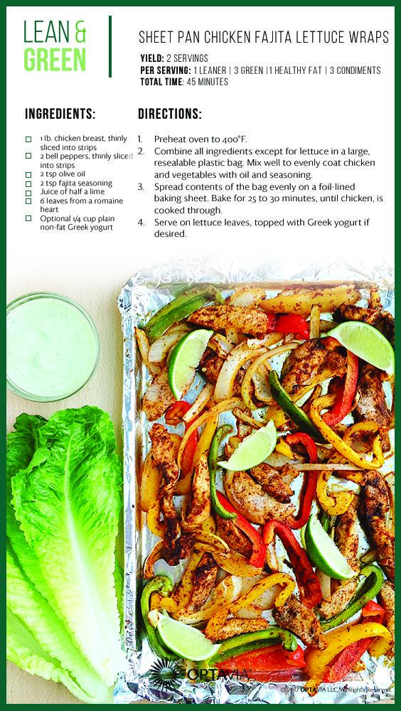 Sheet Pan Chicken Fajita Lettuce Wraps In 2020 Lean And Green Meals Lean Protein Meals Lean Eating