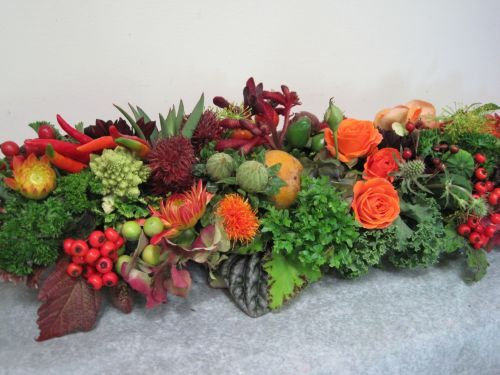 Veggie Table Centerpiece Using Decorative Greens From The