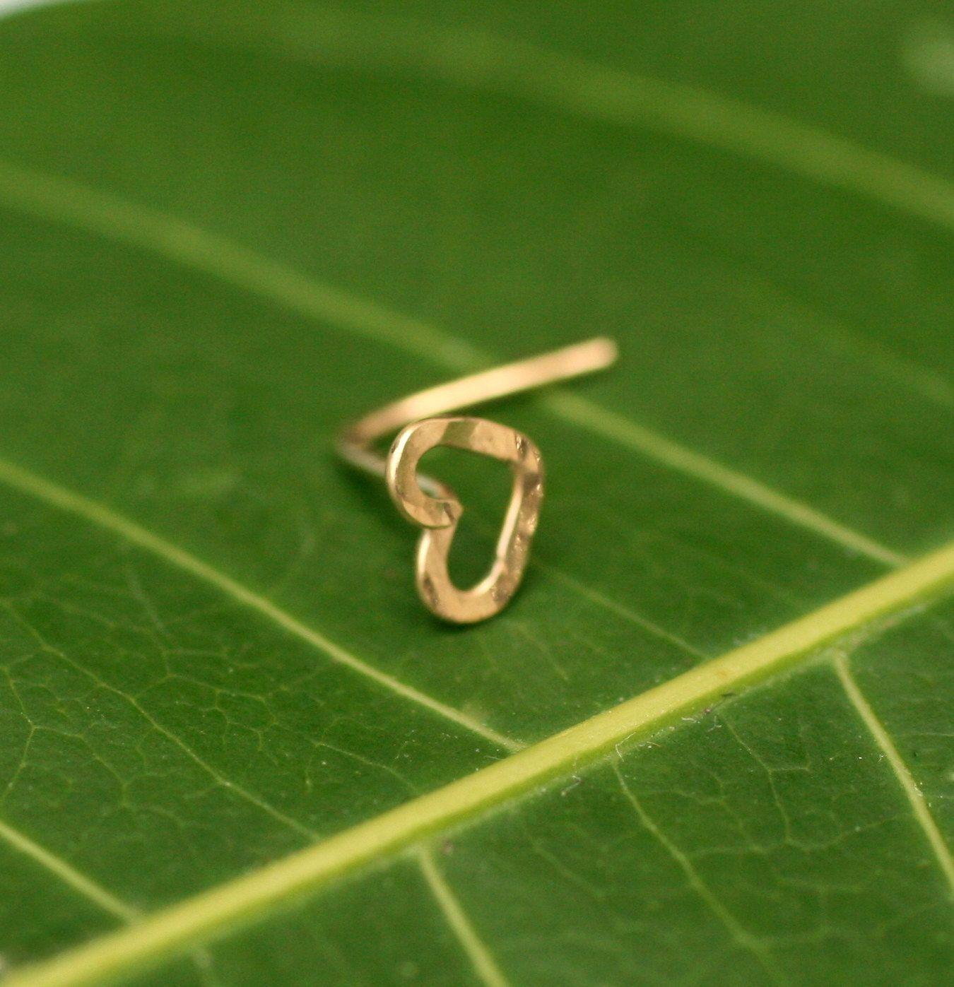 Nose piercing earrings  Valentine Heart Nose Ring Stud K Solid by Holylandstreasures