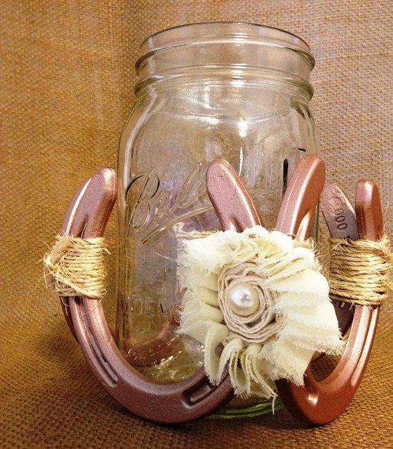 Decorative Horseshoe Fixture With Mason Jar For Candle Holder