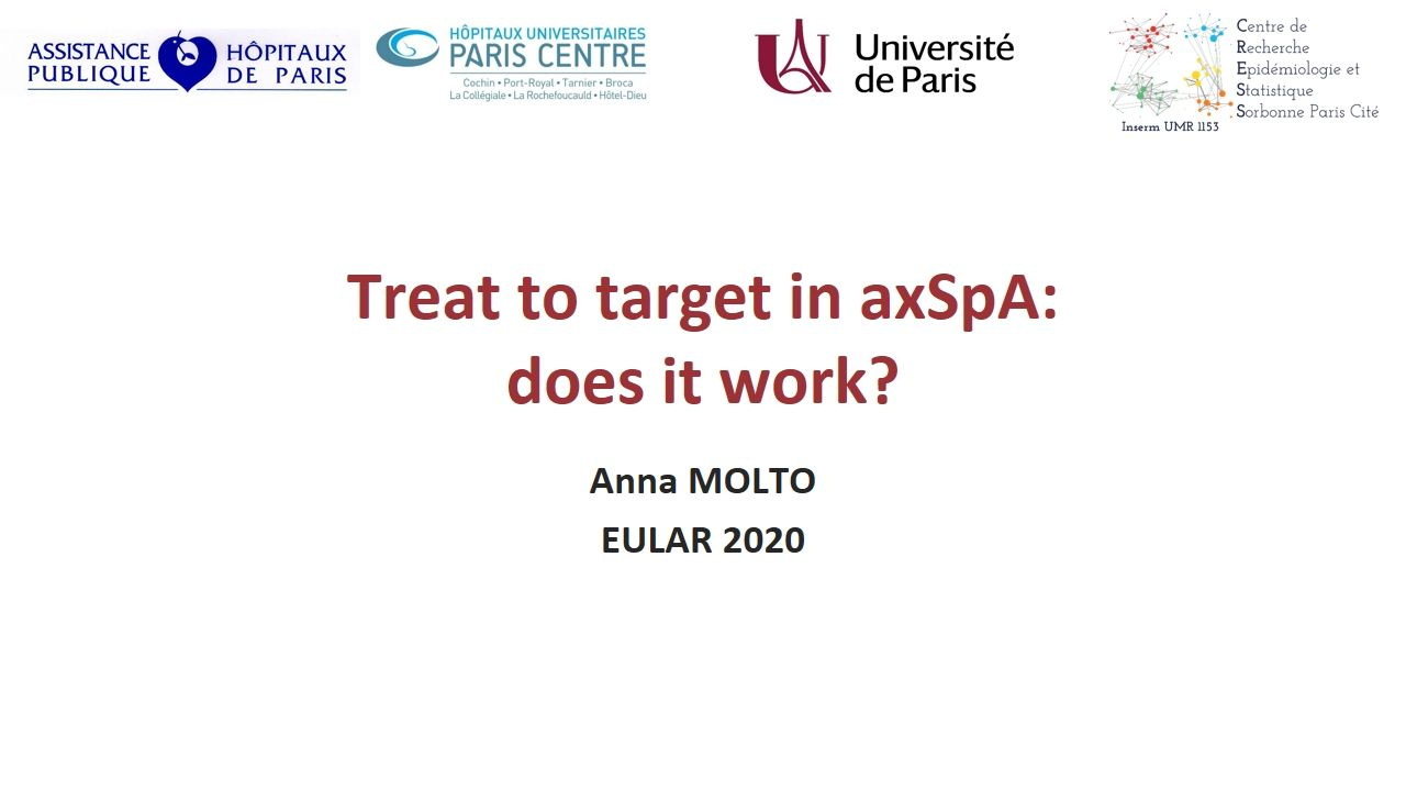 Treat To Target In Axspa Does It Work E Congress Eular