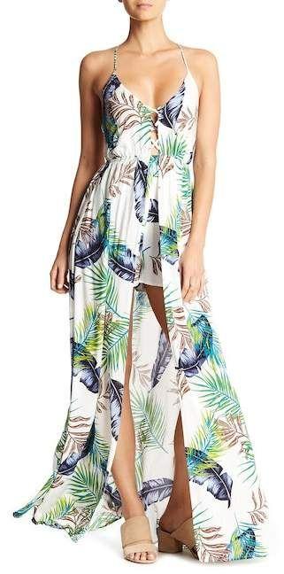 8c45f12192 AAKAA V-Neck Tropical Print Maxi Dress | Tropical resort wear | Maxi Dress  | Summer dress | Summer dresses | Palm Maxi Dress