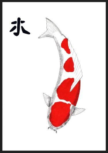 """Saatchi Art Artist Gordon Lavender; Painting, """"Japanese Koi Kohaku Feng Shui Wood """" #art"""