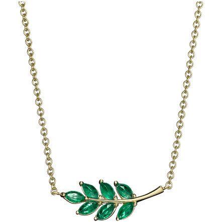 Leaf Charm Necklace en color verde esmeralda de Finn.