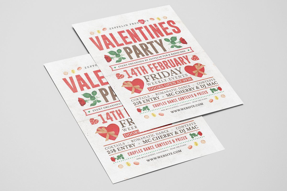 Valentines Day Flyer Template Vol 3 Valentines Flyer Flyer Template