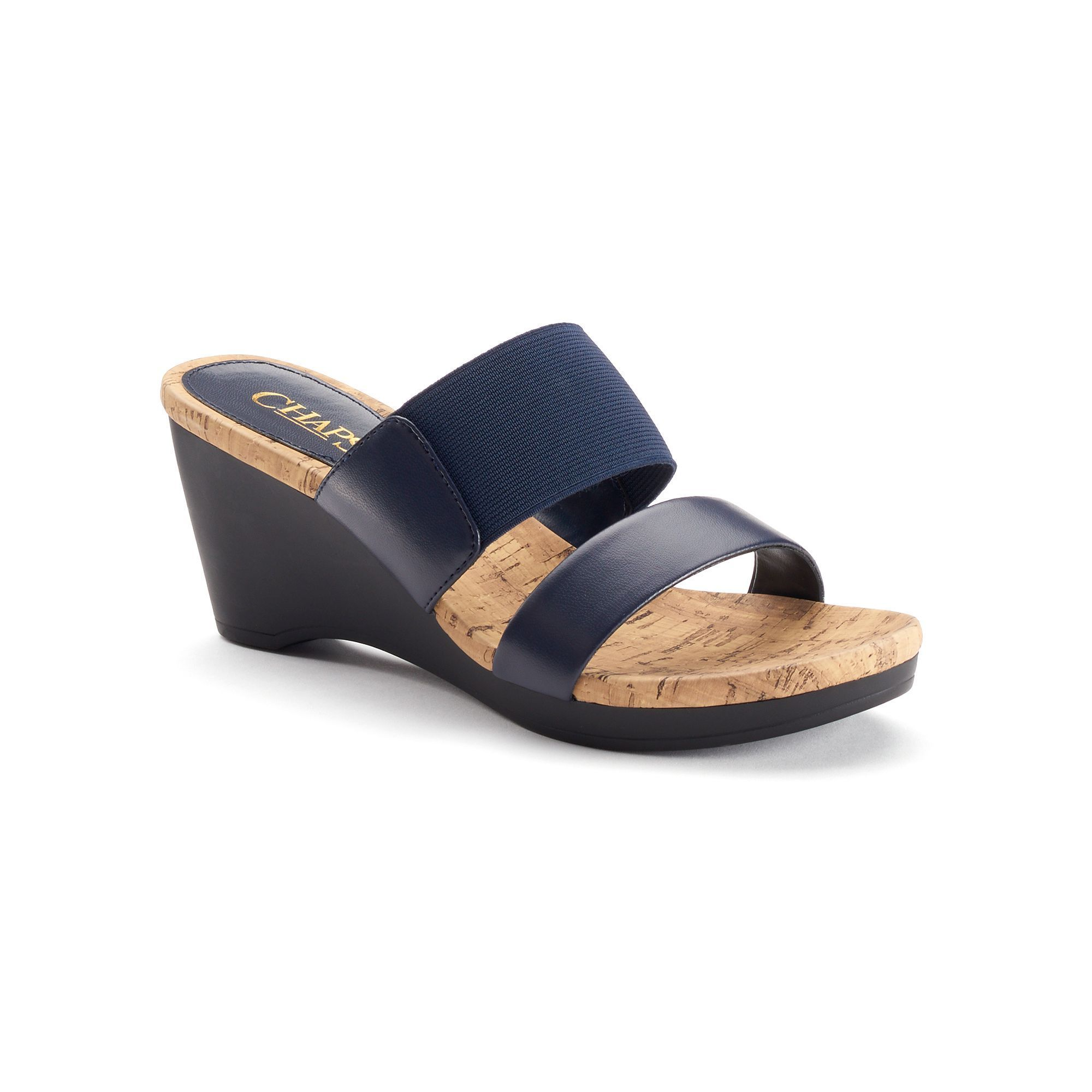 ca448e1bce Chaps Rhoda Women's Slip-On Wedge Dress Sandals, Size: 9.5 B, Blue (Navy)