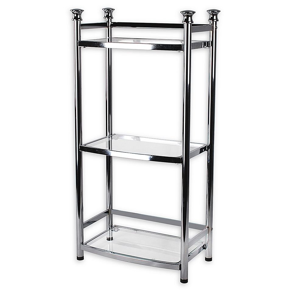 Org 3 Tier Shelf Tower In Chrome Tempered Glass Shelves Glass
